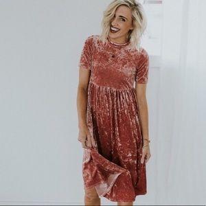NWT Roolee Mom Dusty Rose Velvet Dress